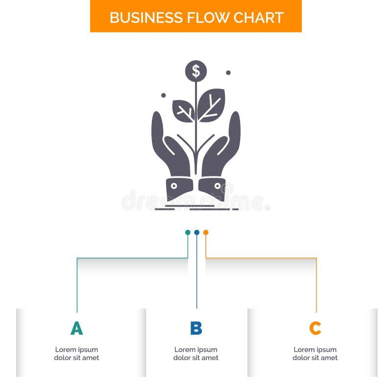 дело, компания, рост, завод, дизайн графика течения дела подъема с 3 шагами r иллюстрация вектора