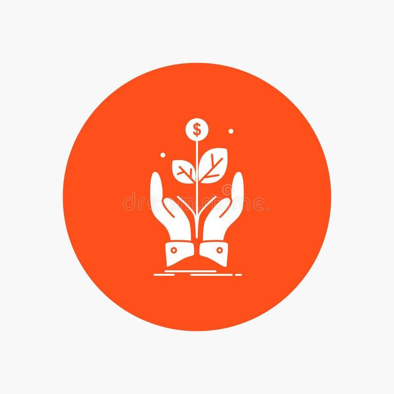 дело, компания, рост, завод, значок глифа подъема белый в круге r иллюстрация вектора