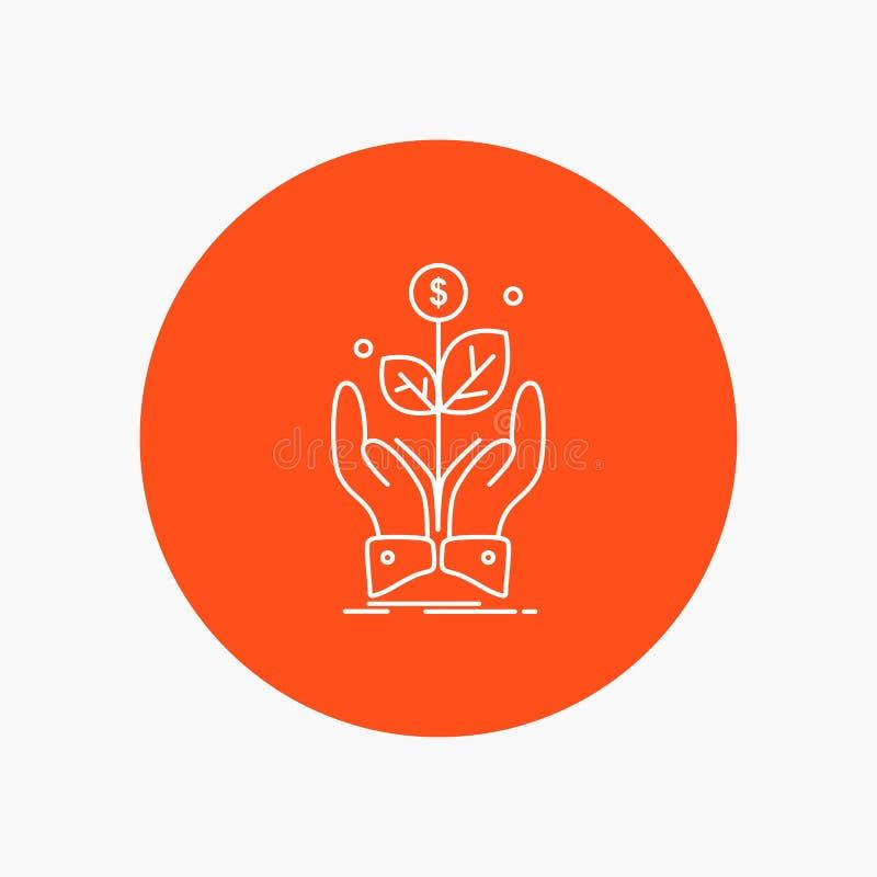 дело, компания, рост, завод, линия значок подъема белая в предпосылке круга r иллюстрация вектора