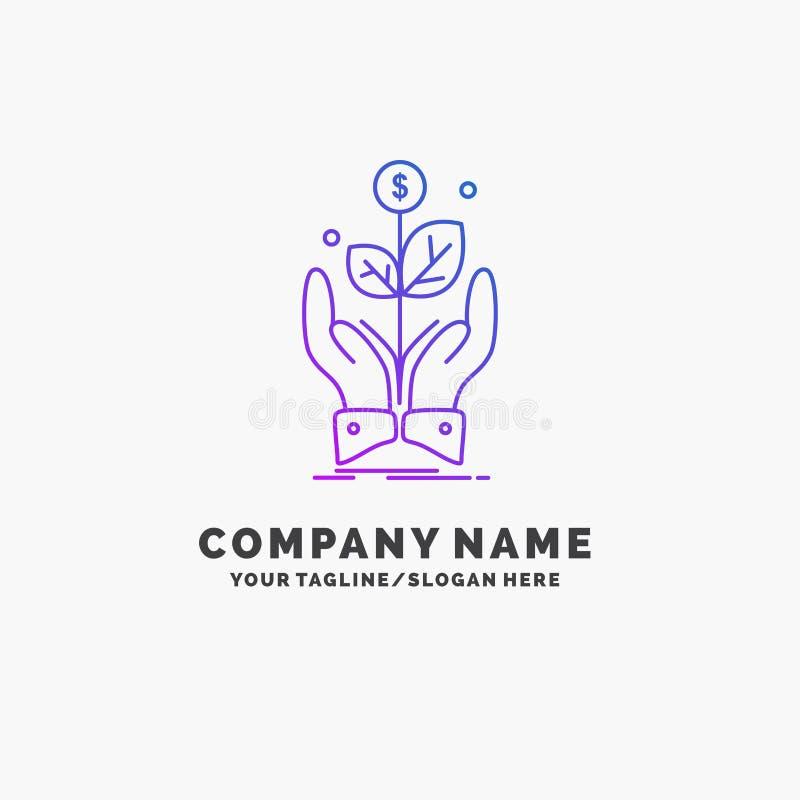 дело, компания, рост, завод, шаблон логотипа дела подъема пурпурный r иллюстрация штока
