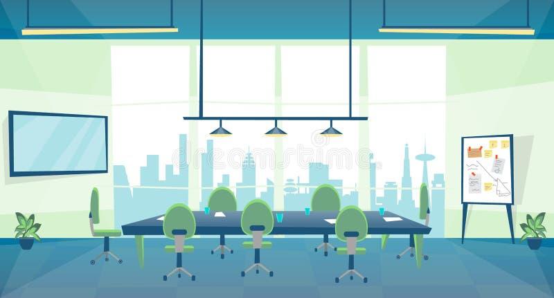Дело конференц-зала цвета мультфильма внутри интерьера вектор иллюстрация вектора