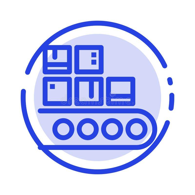 Дело, линия, управление, продукт, линия значок голубой пунктирной линии продукции иллюстрация вектора