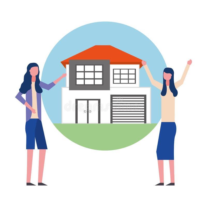 Дело недвижимости дома женщин иллюстрация штока
