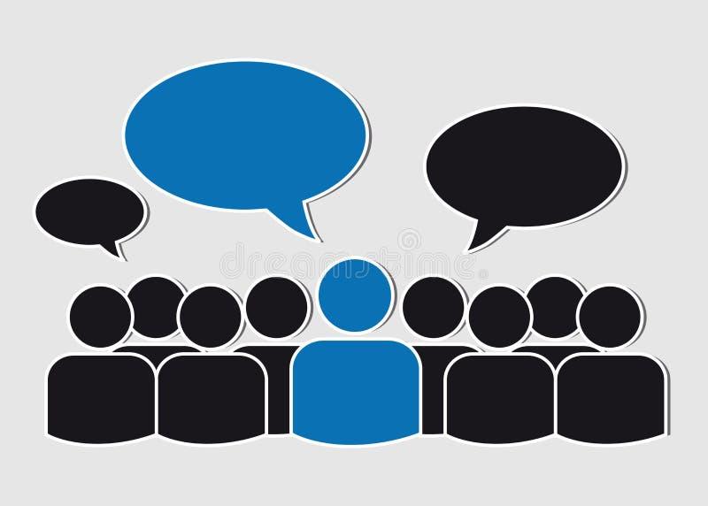 Дело объединяется в команду с пузырями речи - социальными средствами массовой информации иллюстрация вектора