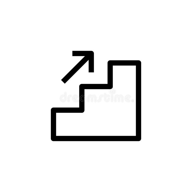 Дело поднимает вверх постепенный дизайн значка лестницы с расти вверх символ стрелки простая чистая линия дело искусства професси иллюстрация штока
