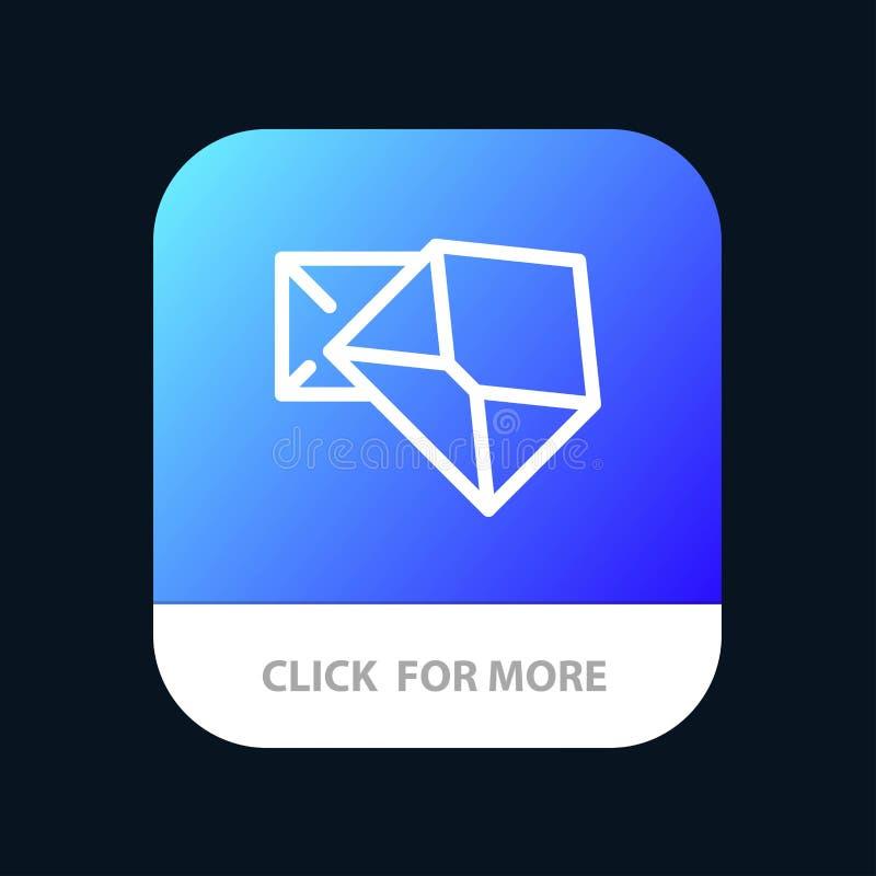 Дело, почта, сообщение, открытая мобильная кнопка приложения Андроид и линия версия IOS иллюстрация вектора