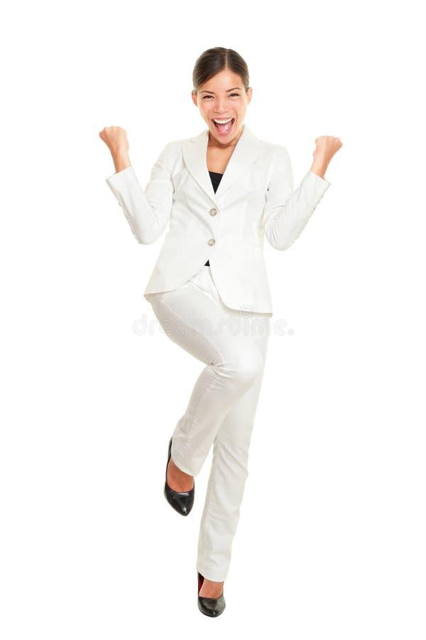 дело празднуя женщину успеха стоковое фото