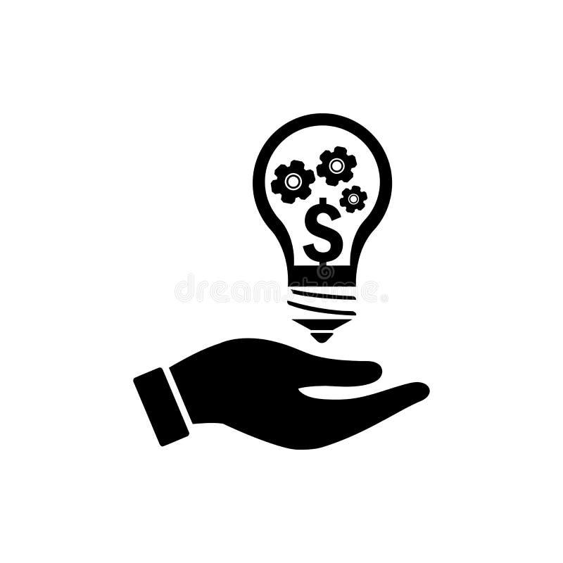 дело, превращается, устанавливающ, нововведение, творческий значок цвета черноты управления идеи иллюстрация вектора