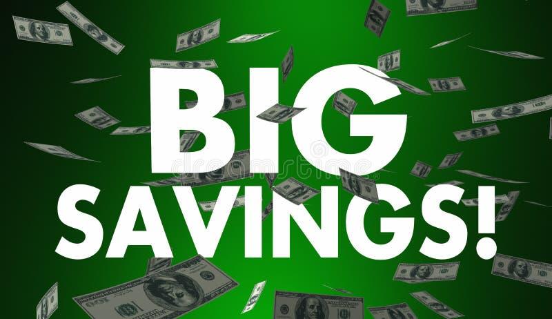 Дело продажи больших цен денег сбережений понижаясь иллюстрация вектора