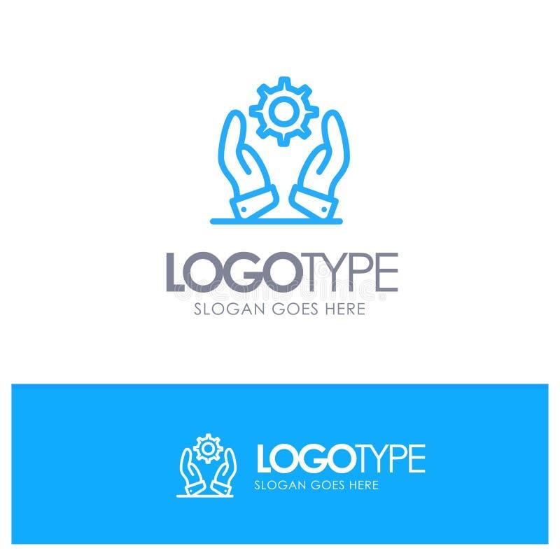 Дело, развитие, современное, логотип плана решений голубой с местом для слогана бесплатная иллюстрация