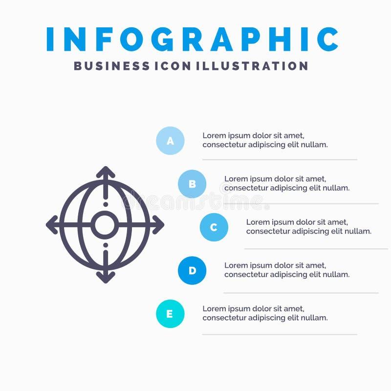 Дело, раскрытие, управление, значок номенклатуры товаров с предпосылкой infographics представления 5 шагов иллюстрация штока
