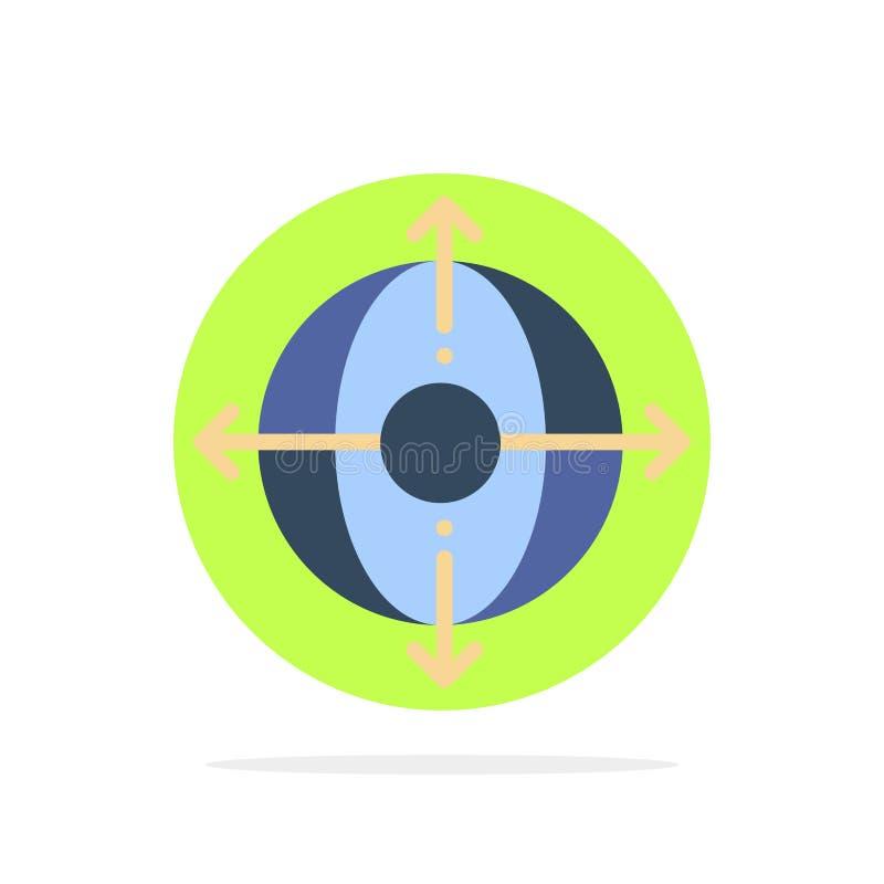 Дело, раскрытие, управление, значок цвета предпосылки круга конспекта продукта плоский бесплатная иллюстрация
