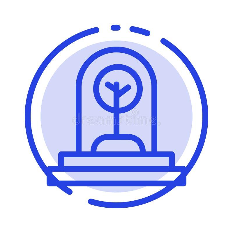 Дело, рост, новый, завод, линия значок голубой пунктирной линии дерева иллюстрация вектора