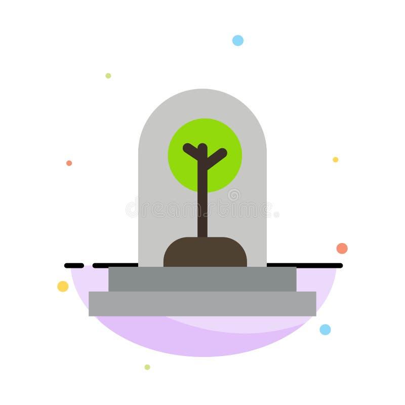 Дело, рост, новый, завод, шаблон значка цвета конспекта дерева плоский иллюстрация вектора