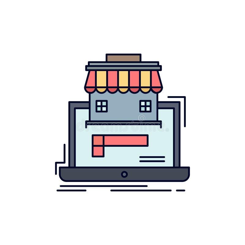 дело, рынок, организация, данные, вектор значка цвета онлайн рынка плоский иллюстрация вектора