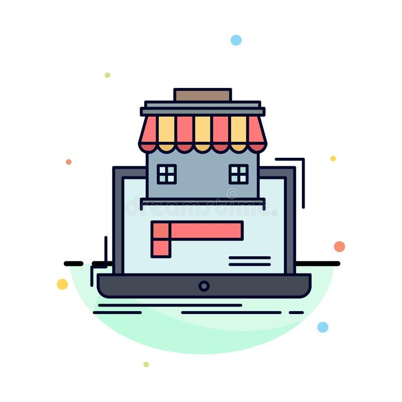 дело, рынок, организация, данные, вектор значка цвета онлайн рынка плоский бесплатная иллюстрация