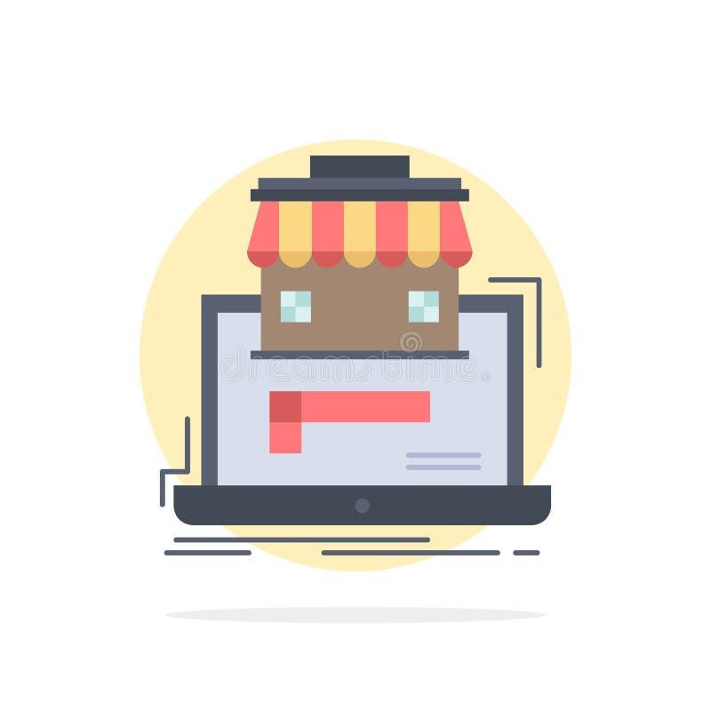 дело, рынок, организация, данные, вектор значка цвета онлайн рынка плоский иллюстрация штока