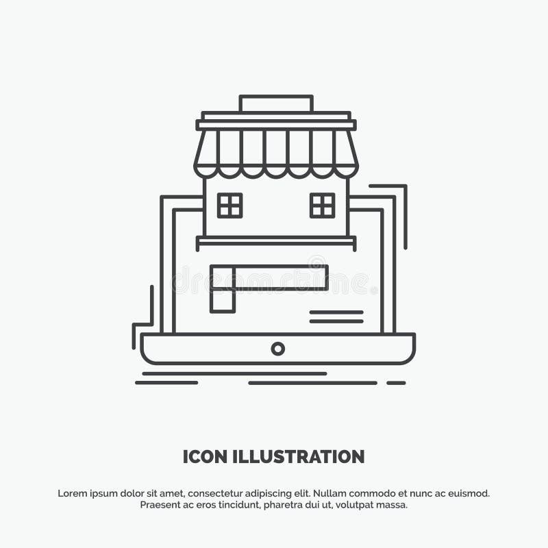 дело, рынок, организация, данные, онлайн значок рынка Линия символ вектора серый для UI и UX, вебсайта или черни бесплатная иллюстрация