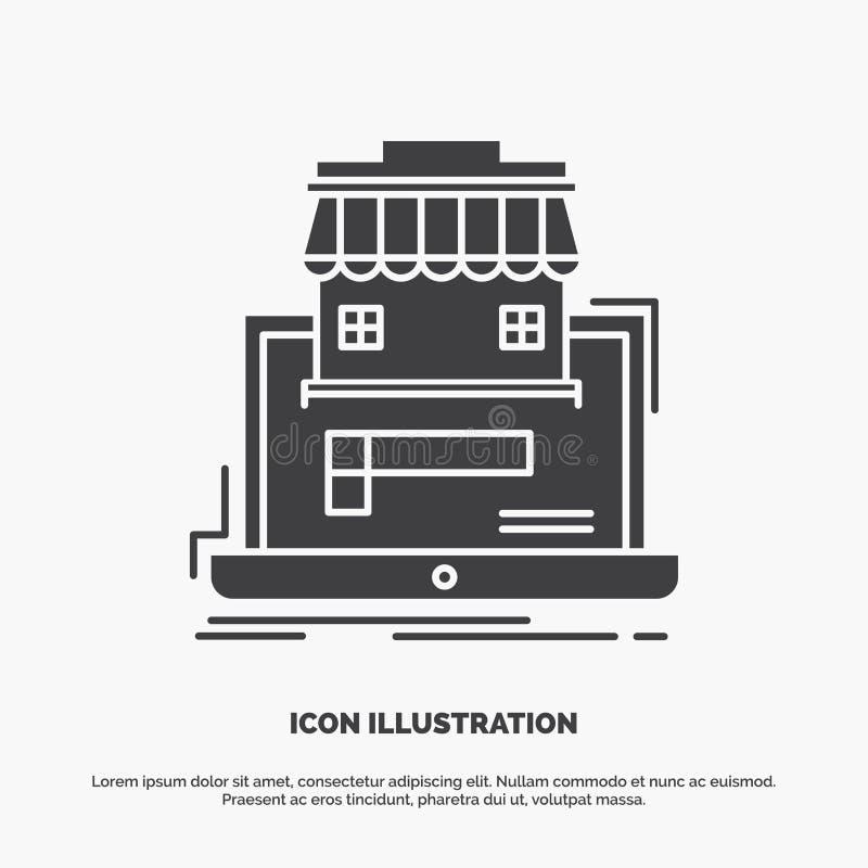 дело, рынок, организация, данные, онлайн значок рынка символ вектора глифа серый для UI и UX, вебсайта или черни иллюстрация штока