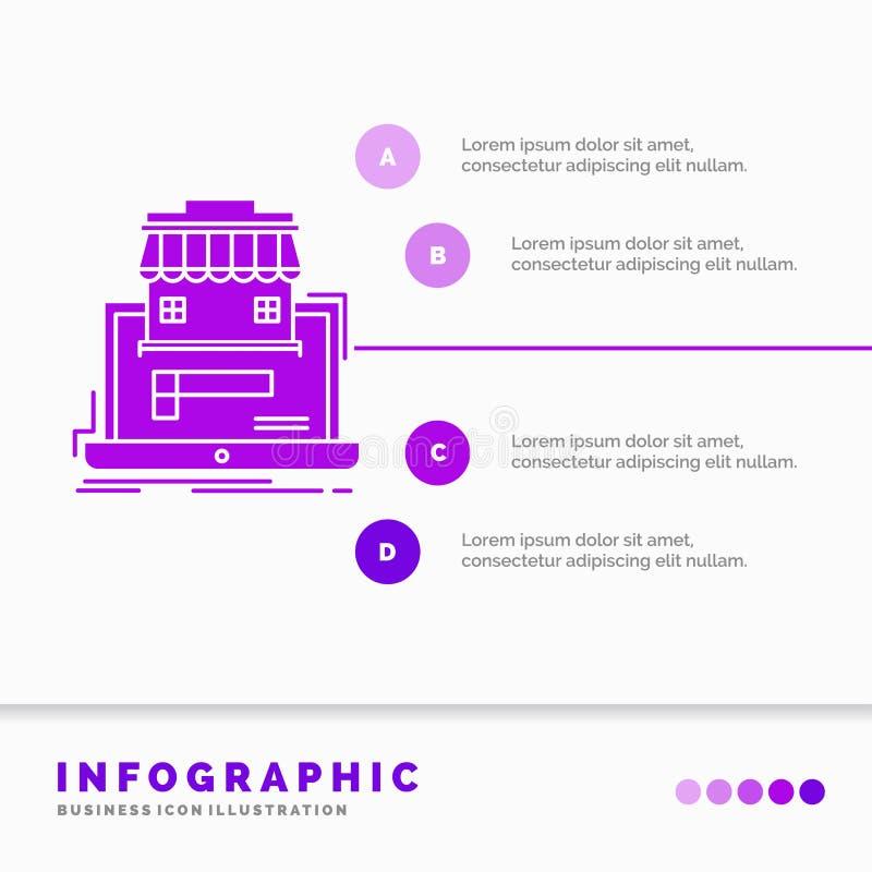 дело, рынок, организация, данные, онлайн шаблон Infographics рынка для вебсайта и представление Значок глифа пурпурный иллюстрация вектора