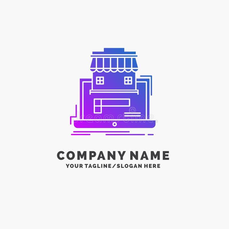 дело, рынок, организация, данные, шаблон логотипа дела онлайн рынка пурпурный r иллюстрация вектора