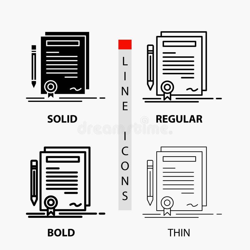 Дело, сертификат, контракт, степень, значок документа в тонких, регулярных, смелых линии и стиле глифа r иллюстрация вектора