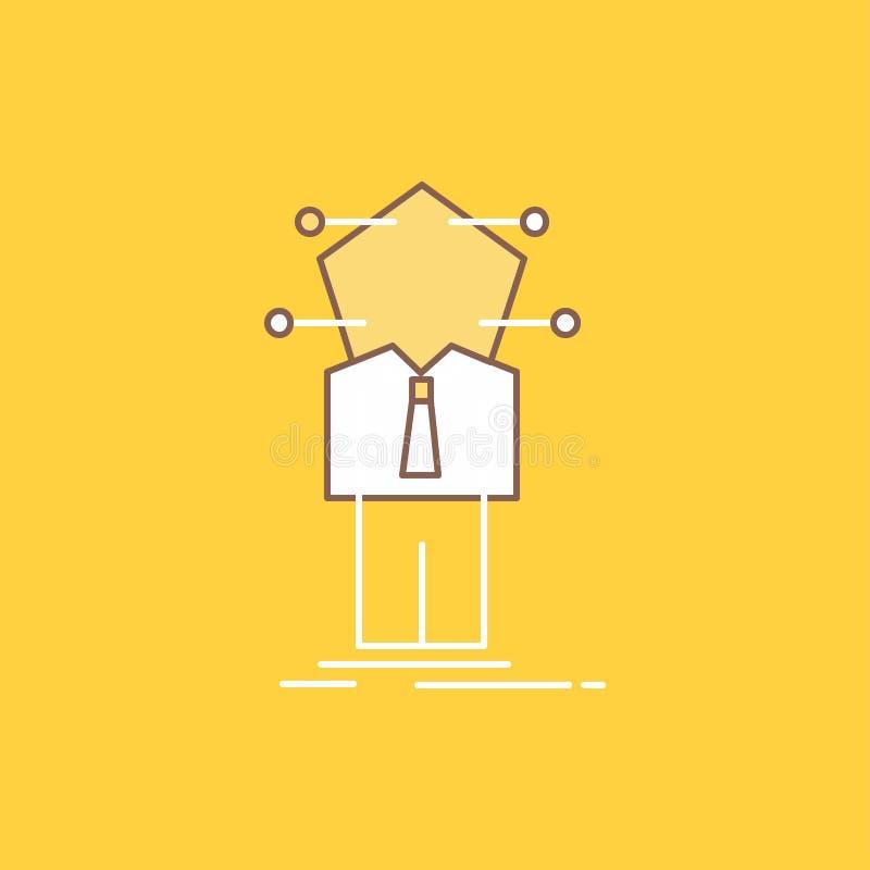 Дело, соединение, человек, сеть, линия решения плоская заполнило значок Красивая кнопка логотипа над желтой предпосылкой для UI и иллюстрация штока