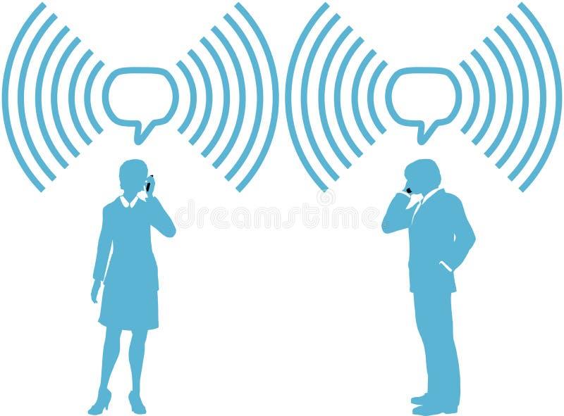 дело соединяет радиотелеграф smartphone телефонов людей иллюстрация вектора