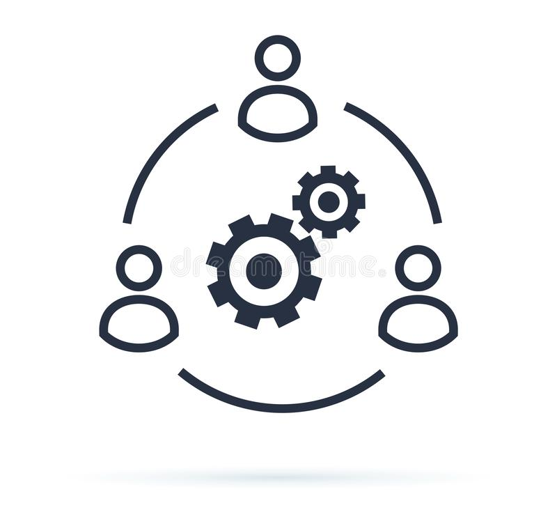 Дело сотрудничает изображение вектора значка Концепция Сыгранности Корпорации Схематический значок businessteam работая кохезионн бесплатная иллюстрация