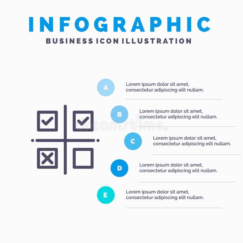 Дело, управление, приоритеты, продукт, значок производственной линии с предпосылкой infographics представления 5 шагов иллюстрация вектора