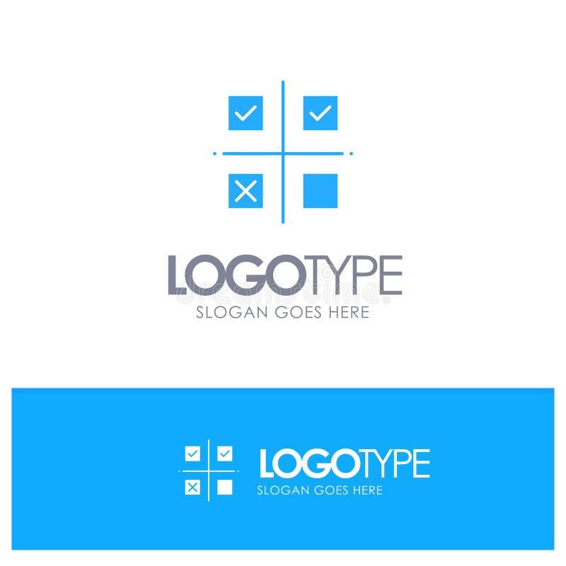 Дело, управление, приоритеты, продукт, логотип продукции голубой твердый с местом для слогана иллюстрация штока