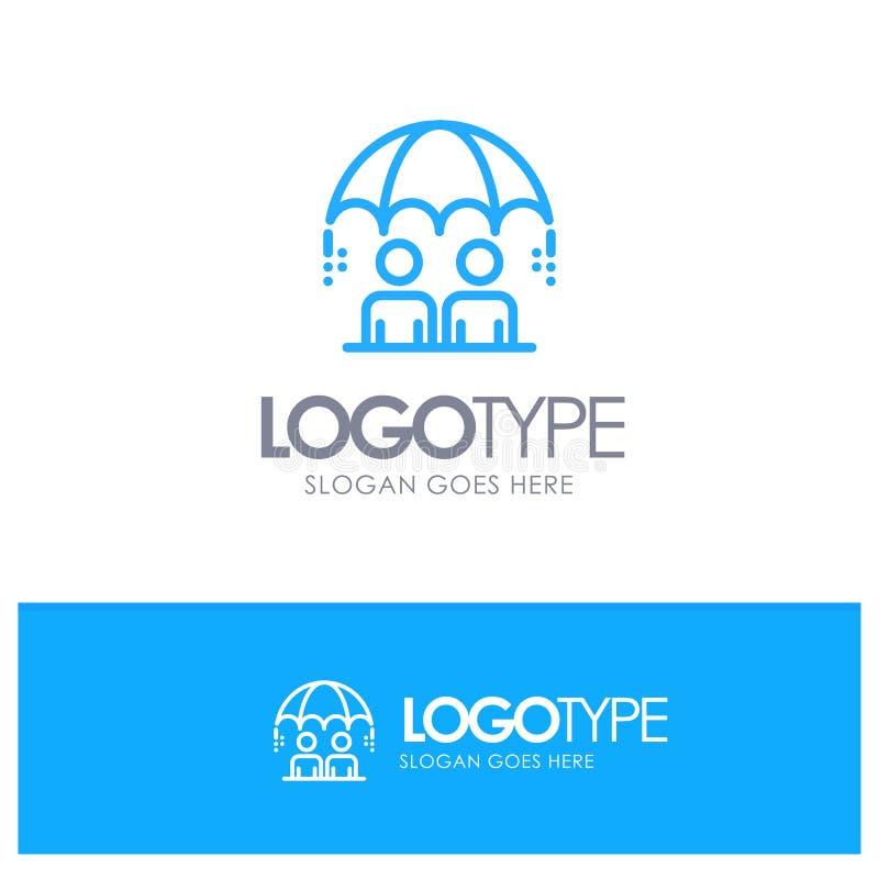 Дело, управление, современное, логотип плана риска голубой с местом для слогана иллюстрация вектора