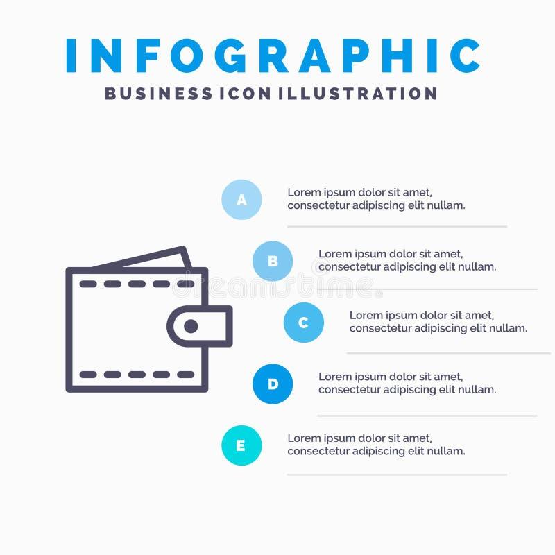 Дело, финансы, интерфейс, потребитель, линия значок бумажника с предпосылкой infographics представления 5 шагов бесплатная иллюстрация