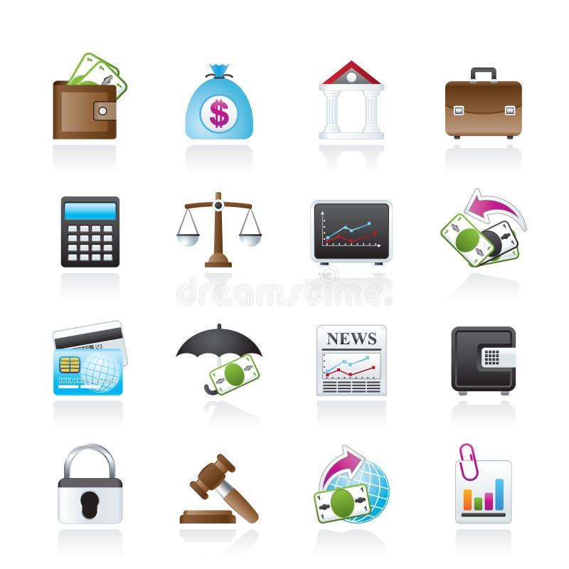 Дело, финансы и иконы банка иллюстрация штока