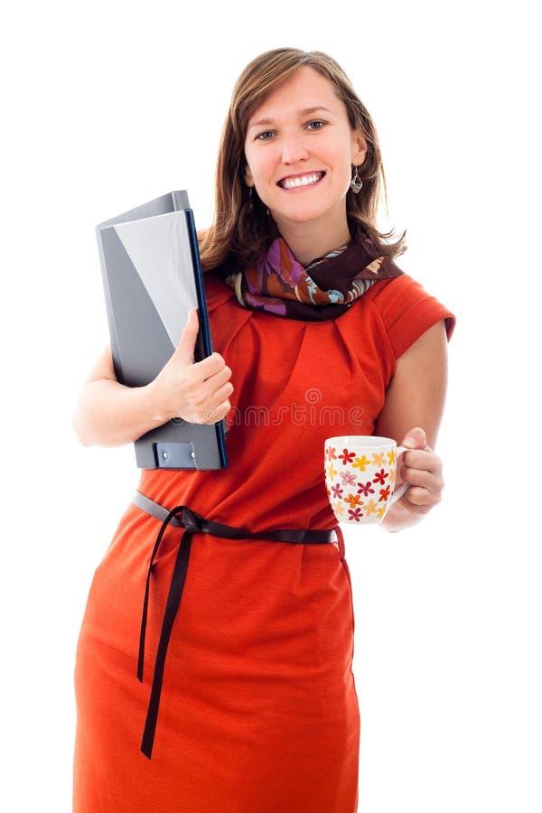 дело хранит счастливую женщину кружки удерживания стоковые изображения
