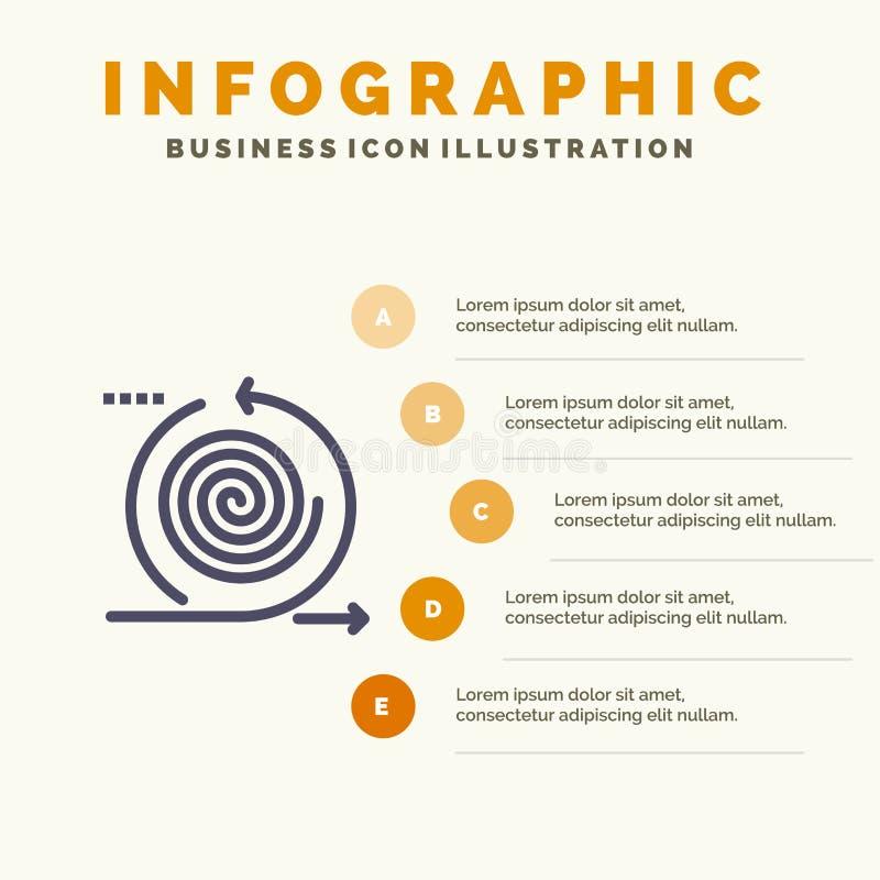 Дело, циклы, итерирование, управление, предпосылка представления шагов Infographics 5 значка продукта твердая иллюстрация вектора