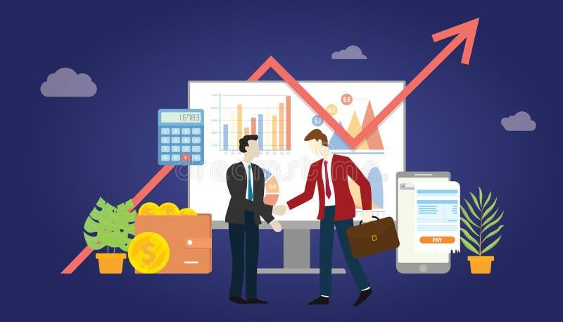 Дело B2b к согласованию дела маркетинга дела между компанией 2 с некоторыми диаграммой и данными по статистики диаграммы - вектор иллюстрация вектора