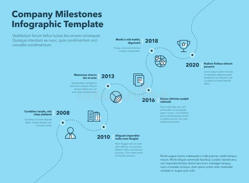 Дело infographic для шаблона временной последовательности по основных этапов работ компании с брошенным путем и линии значков с б иллюстрация штока