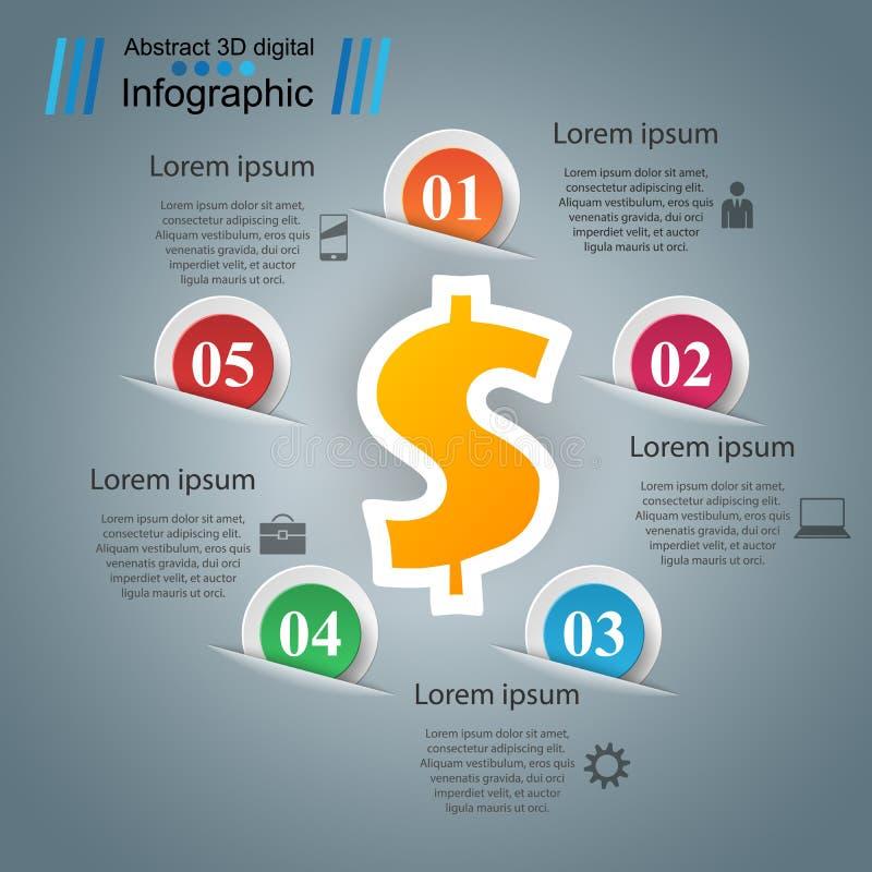 Дело Infographics Доллар, значок денег иллюстрация вектора