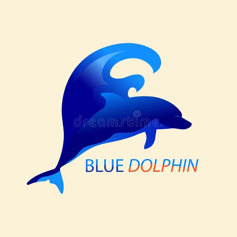 Дельфин и волна иллюстрация штока