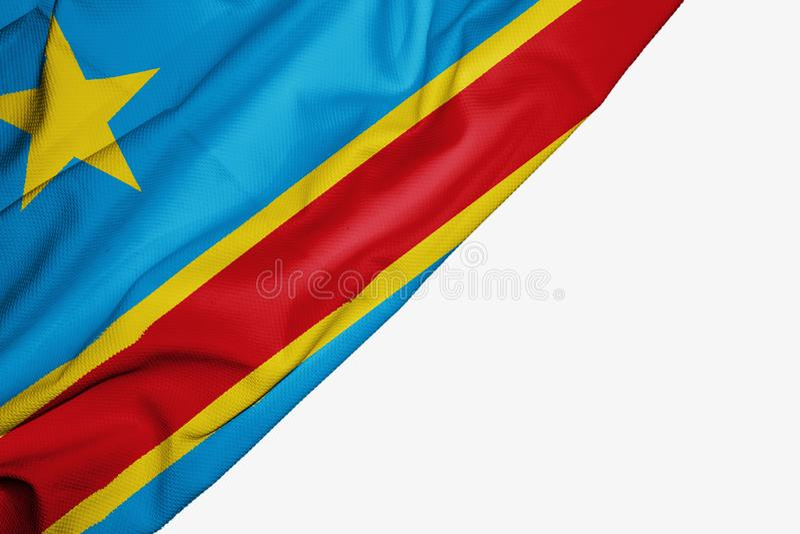 Демократичный флаг Республики Конго ткани с copyspace для вашего текста на белой предпосылке бесплатная иллюстрация