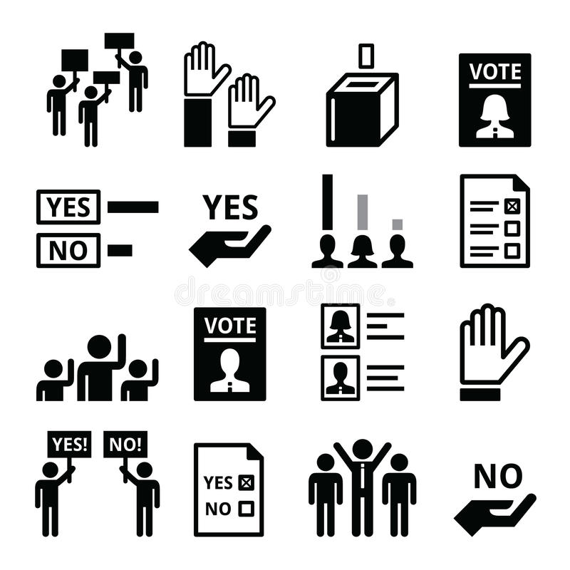 Демократия, голосуя, комплект значка вектора политики иллюстрация вектора