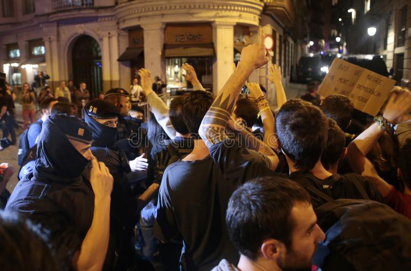 Демонстранты для свободы в Барселоне стоковое фото
