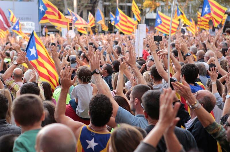 Демонстранты для свободы в Барселоне стоковые фото