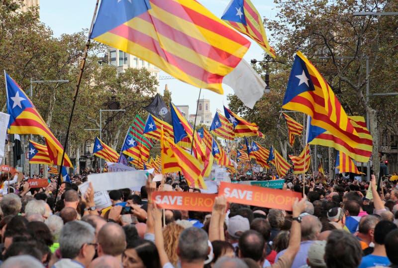 Демонстранты для свободы и против политических заключенных в Барселоне стоковая фотография
