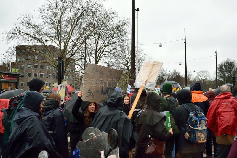 Демонстрации маршируют для более сильных политик изменения климата в Нидерланд стоковое фото rf