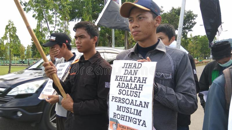 Демонстрация солидарности для мусульман Rohingya стоковая фотография rf