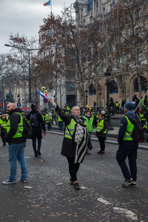 """Демонстрация """"Gilets Jaunes в Париже, Франции стоковое изображение rf"""