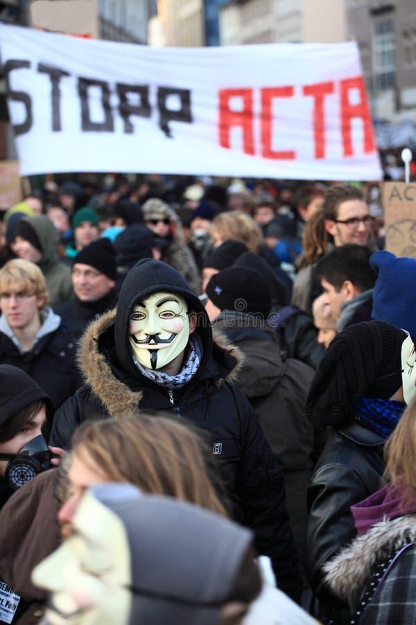 демонстрация acta anti стоковая фотография