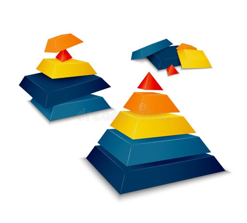 Демонтированная пирамида собранная и иллюстрация вектора